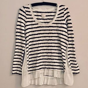 Anthro Postage Stamp Striped Textured Sweater/Top